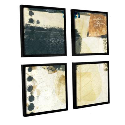 Brushstone Wabi-Sabi Bodhi Leaf Collage 2 4-pc. Floater Framed Canvas Sqare Set