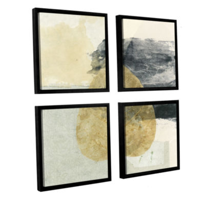 Brushstone Wabi-Sabi Bodhi Leaf Collage 3 4-pc. Floater Framed Canvas Sqare Set