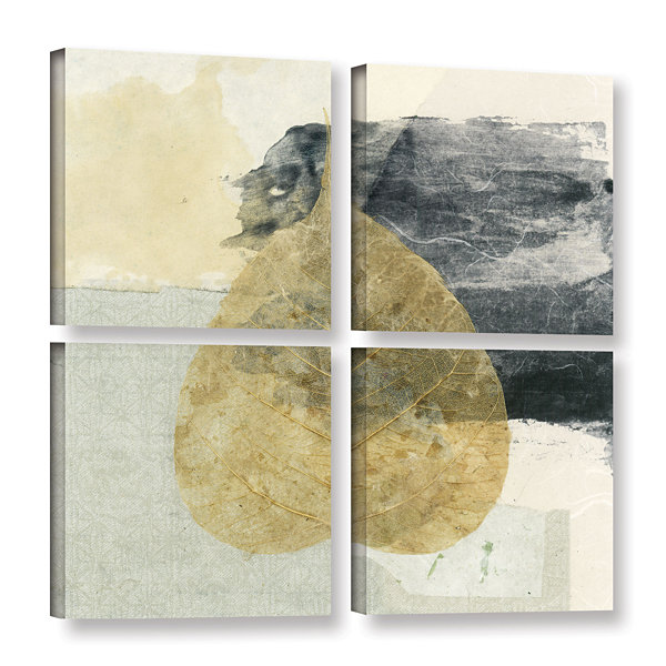 Brushstone Wabi-Sabi Bodhi Leaf Collage 3 4-pc. Gallery Wrapped Canvas Square Set