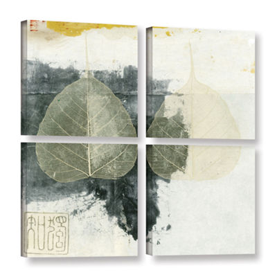 Brushstone Wabi-Sabi Bodhi Leaf Collage 4 4-pc. Square Floater Framed Canvas Wall Art