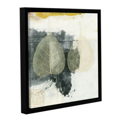 Brushstone Wabi-Sabi Bodhi Leaf Collage 4 GalleryWrapped Floater-Framed Canvas Wall Art
