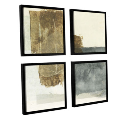 Brushstone Wabi-Sabi Bodhi Leaf Collage 5 4-pc. Square Floater Framed Canvas Wall Art