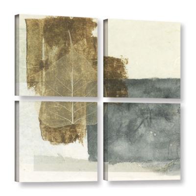 Brushstone Wabi-Sabi Bodhi Leaf Collage 5 4-pc. Gallery Wrapped Canvas Square Set