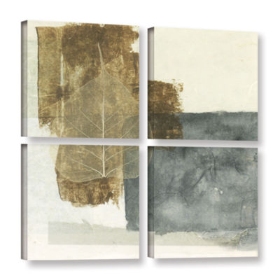 Brushstone Wabi-Sabi Bodhi Leaf Collage 5 4-pc. Gallery Wrapped Canvas Square Set