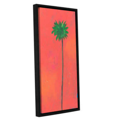 Brushstone Tangerine Palm Gallery Wrapped Floater-Framed Canvas Wall Art
