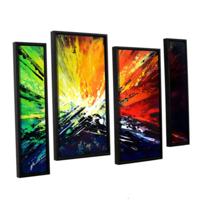 Brushstone Vibrance 2 4-pc. Floater Framed Staggered Canvas Wall Art