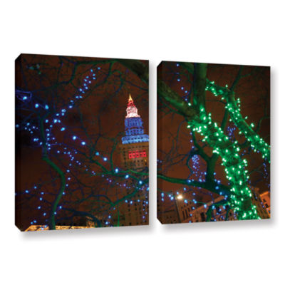 Brushstone Terminal Tower 2-pc. Gallery Wrapped Canvas Wall Art