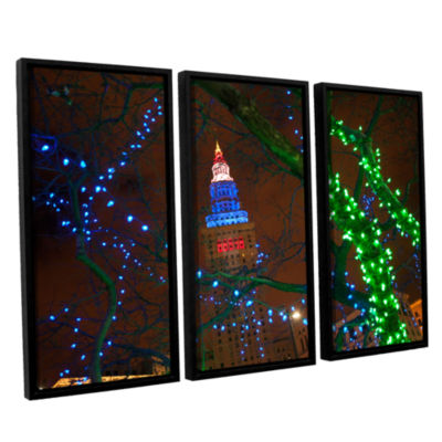 Brushstone Terminal Tower 3-pc. Floater Framed Canvas Wall Art
