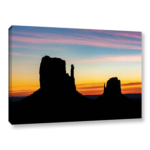 Brushstone Sunrise Over Monument Valley Mittens Gallery Wrapped Canvas Wall Art