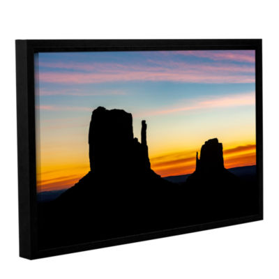 Brushstone Sunrise Over Monument Valley Mittens Gallery Wrapped Floater-Framed Canvas Wall Art