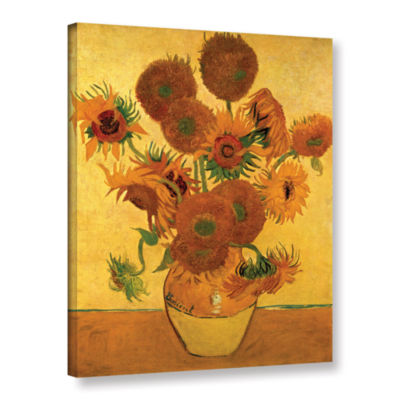 Brushstone Vase With Fifteen Sunflowers Gallery Wrapped Canvas Wall Art