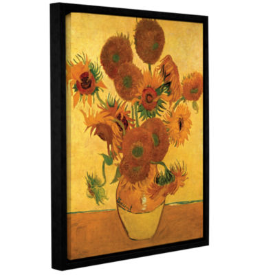 Brushstone Vase with Fifteen Sunflowers Gallery Wrapped Floater-Framed Canvas