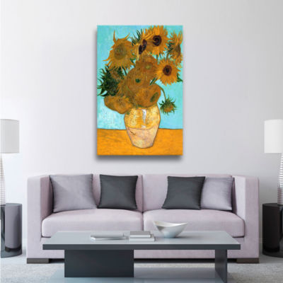 Brushstone Vases with Twelve Sunflowers Gallery Wrapped Canvas
