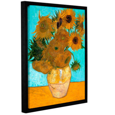 Brushstone Vases with Twelve Sunflowers Gallery Wrapped Floater-Framed Canvas