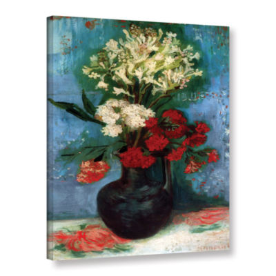 Brushstone Vase with Carnations and Other FlowersGallery Wrapped Canvas