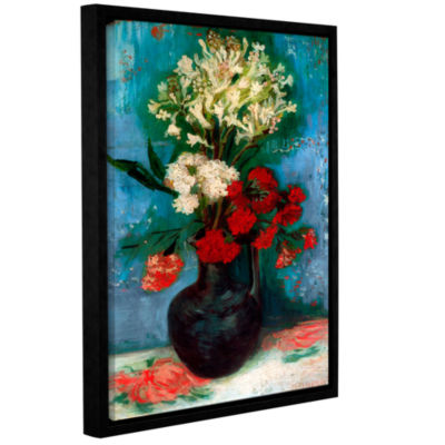 Brushstone Vase With Carnations And Other FlowersGallery Wrapped Floater-Framed Canvas Wall Art