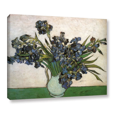 Brushstone Vase With Purple Irises Against A PinkBackground Gallery Wrapped Canvas Wall Art