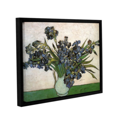 Brushstone Vase With Purple Irises Against A PinkBackground Gallery Wrapped Floater-Framed Canvas Wall Art
