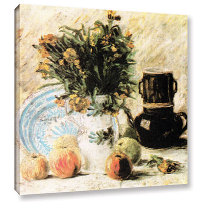 Brushstone Vase Of Flowers Coffee Pot And Some Fruit Gallery Wrapped Canvas Wall Art