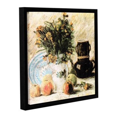 Brushstone Vase Of Flowers Coffee Pot And Some Fruit Gallery Wrapped Floater-Framed Canvas Wall Art