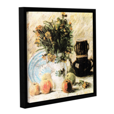 Brushstone Vase of Flowers  Coffee Pot  and Some Fruit Gallery Wrapped Floater-Framed Canvas