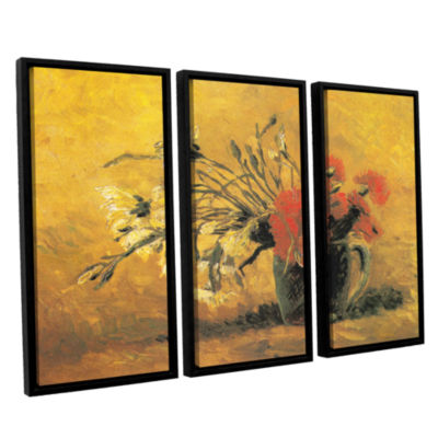 Brushstone Vase with Red and White Carnation on aYellow Background 3-pc. Floater Framed Canvas Set