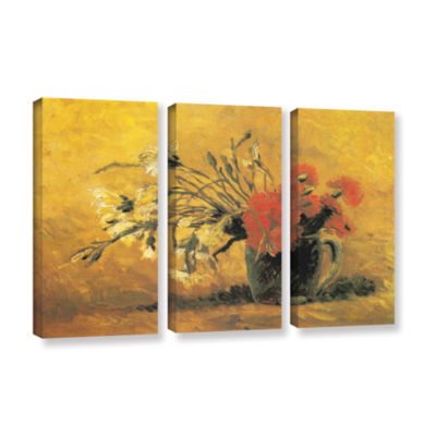 Brushstone Vase with Red and White Carnation on aYellow Background 3-pc. Gallery Wrapped Canvas Set