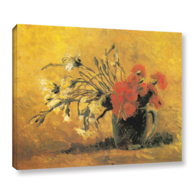 Brushstone Vase with Red and White Carnation on aYellow Background Gallery Wrapped Canvas