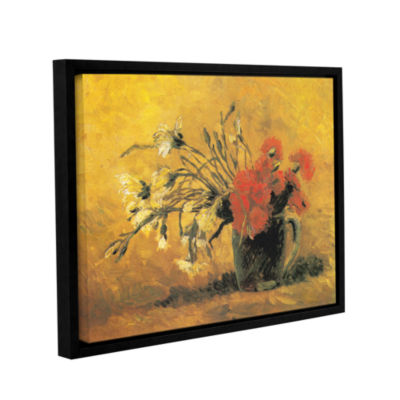 Brushstone Vase With Red And White Carnation On AYellow Background Gallery Wrapped Floater-Framed Canvas Wall Art