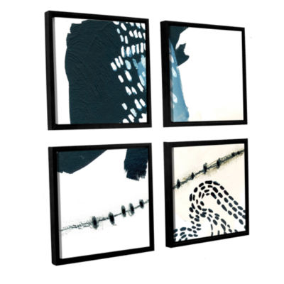 Brushstone Wander 4-pc. Floater Framed Canvas Sqare Set