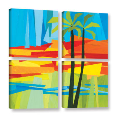 Brushstone Two Palms 4-pc. Gallery Wrapped CanvasSquare Set