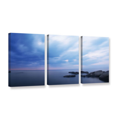 Brushstone Water And Rocks 3-pc. Gallery Wrapped Canvas Wall Art