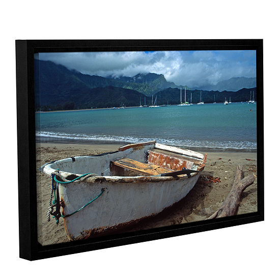 Brushstone Waiting To Row In Hanalei Bay Gallery Wrapped Floater-Framed Canvas Wall Art