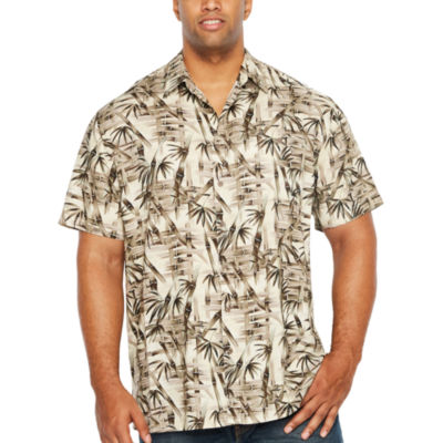 The Foundry Big & Tall Supply Co. Foundry Tropicals Short Sleeve Button-Front Shirt-Big and Tall