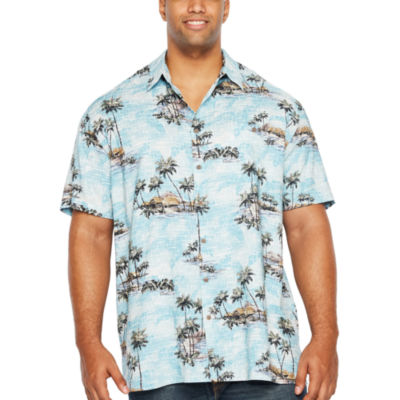 The Foundry Big & Tall Supply Co. Tropicals Short Sleeve Button-Front Shirt-Big and Tall
