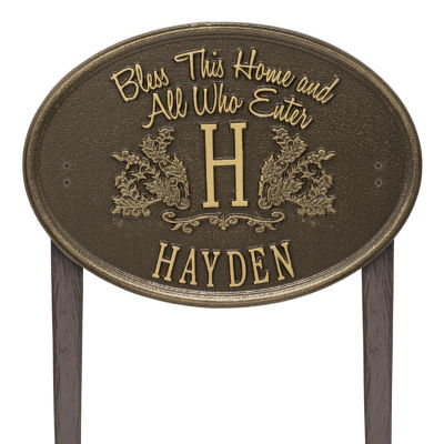 Whitehall Bless This Home Monogram Oval Personalized Plaque Lawn