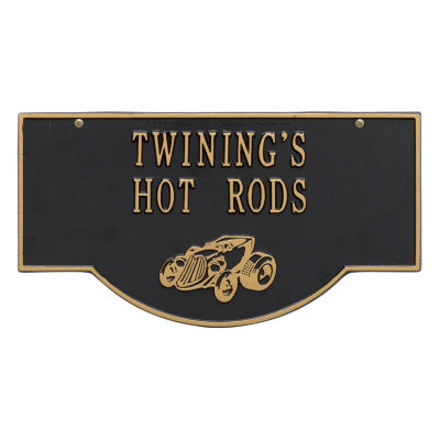 Whitehall 2-Sided Hanging Garage Hot Rod Plaque