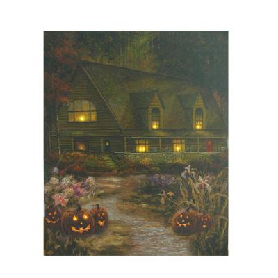 "LED Lighted Halloween Harvest in Autumn Canvas Wall Art 19.75"" x 23.5"""