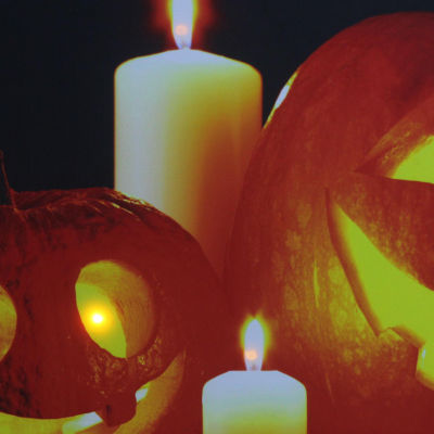 """LED Lighted Halloween Jack-o'-Lanterns with Candles Canvas Wall Art 15.75"""" x 19.5"""""""