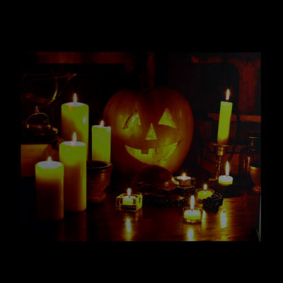 "LED Lighted Halloween Witch's Jack-O'-Lantern by Candlelight Canvas Wall Art 15.75"" x 19.5"""