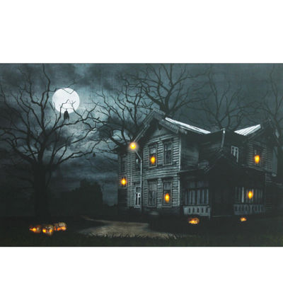 "LED Lighted Moonlit Halloween House with Jack-O'-Lanterns Canvas Wall Art 15.75"" x 19.5"""