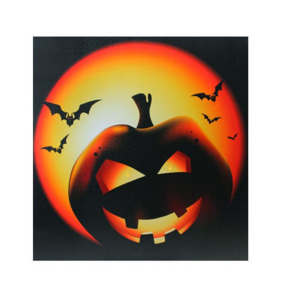 "LED Lighted Bats and Jack-O-Lantern Halloween Canvas Wall Art 19.75"" x 19.75"""