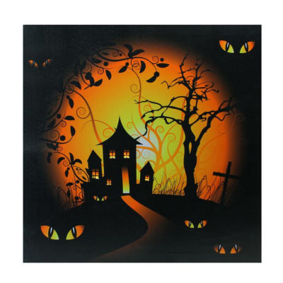 """LED Lighted Spooky House and Eyes Halloween Canvas Wall Art 19.75"""" x 19.75"""""""