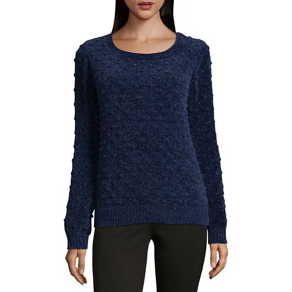 Liz Claiborne Long Sleeve Chenille Bobble Sweater