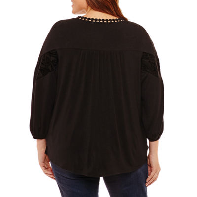 Liz Claiborne Velvet Trim Top-Plus