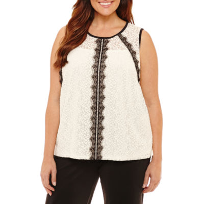Liz Claiborne Sleeveless Crew Neck T-Shirt-Womens Plus