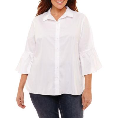 Liz Claiborne Bell Sleeve Button Front Shirt- Plus