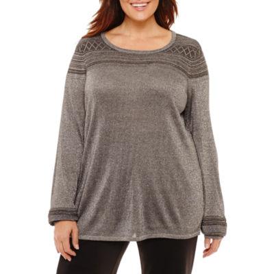 Liz Claiborne Textured Metallic Sweater- Plus