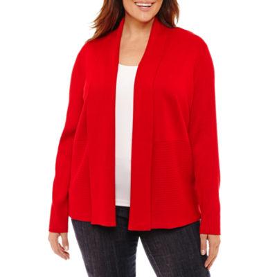 Liz Claiborne Long Sleeve Ribbed Cardigan- Plus
