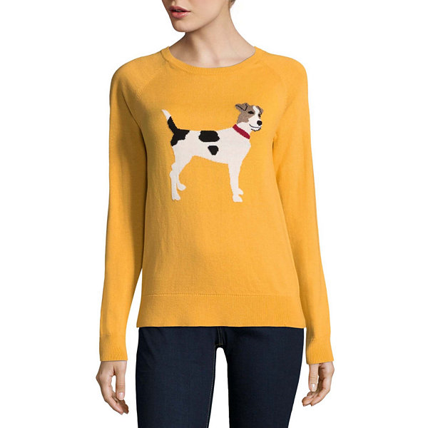 St. John's Bay Long Sleeve Crew Neck Animal Pullover Sweater